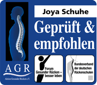 Die Aktion Gesunder Rücken (AGR) e. V. empfiehlt Joya Schuhe als besonders rückenfreundliche Schuhe.
